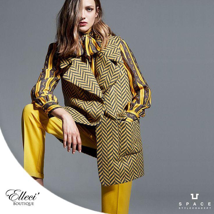 Approfitta dei nostri #saldi per scegliere il tuo #cappotto preferito! Space Style Concept punta su colori accesi, come questa versione in #giallo con fantasia geometrica a contrasto e un fit ampio e destrutturato.  Vieni a trovarci in #boutique e visita il nostro #store #online ---> bit.ly/1ORjOSn  #yellow #paltò  #elleci #elleciboutique #sales #wintersales #fashion #shoes #saldi #shoponline 