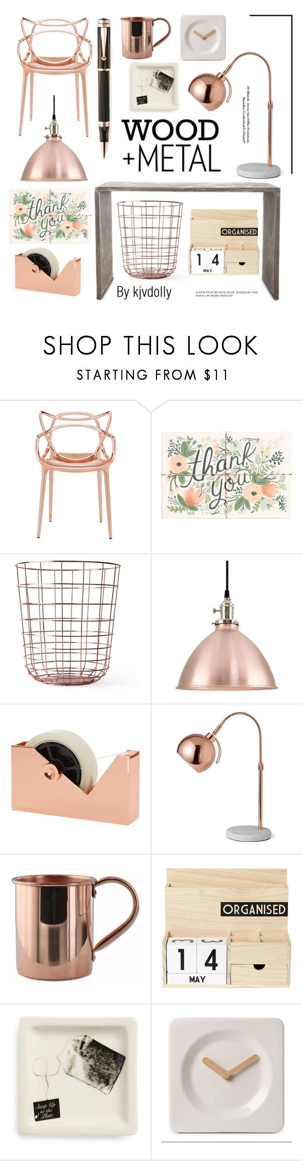 """""""Copper and Wood office"""" by kjvdolly ❤ liked on Polyvore featuring interior, interiors, interior design, home, home decor, interior decorating, Kartell, Rifle Paper Co, Menu and Tom Dixon"""