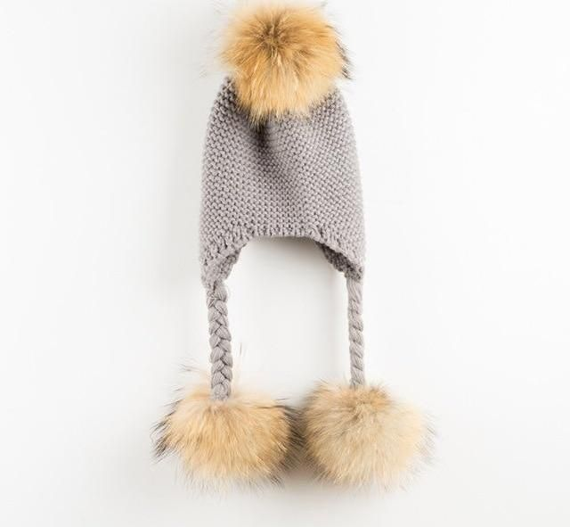 7f1f7f78ff1 Real Mink Raccoon Fur Ball Wool Knitted Children Hat
