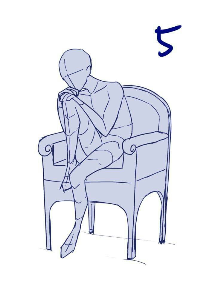 Sitting on chair. Head on knee. Reference