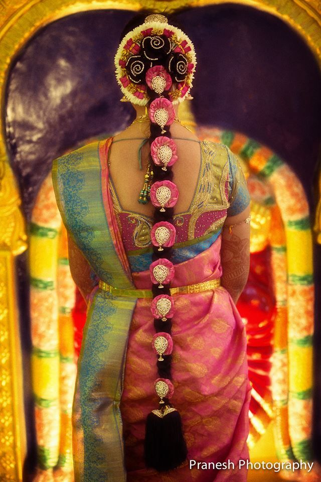 Lovely Pink, Blue, and Gold Saree and Blouse Combo with Traditional Braided Hairstyle with Flowers