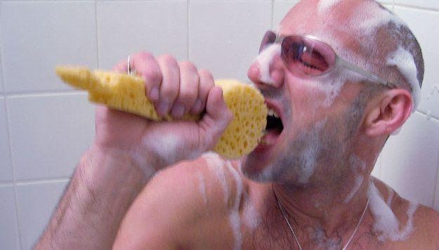 Sponge mic for shower kareoke... Here comes my yankee swap gift, haha.