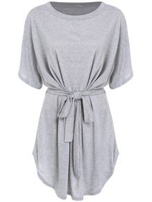 Short Sleeve Self-Tie Dolman Dress US$13.05