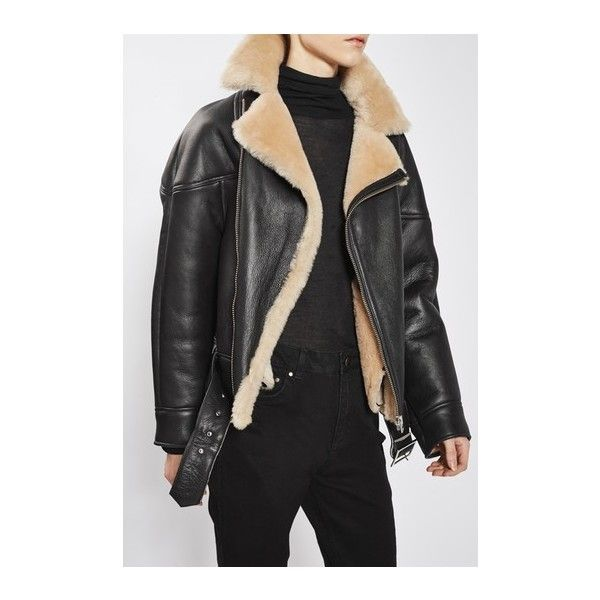 Shearling Aviator Jacket by Boutique (58.885 RUB) ❤ liked on Polyvore featuring outerwear, jackets, chocolate, aviator jacket, topshop jackets, belted jacket, shearling jacket and shearling aviator jacket
