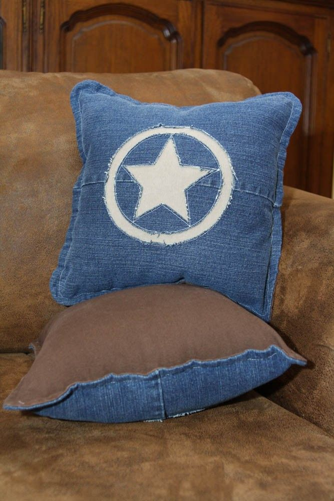 One Pair Recycled Denim Jeans Pillows - Texas Star Design. via Etsy.