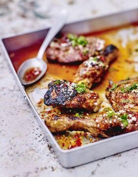 Poulet grillé, marinade épicée au soja