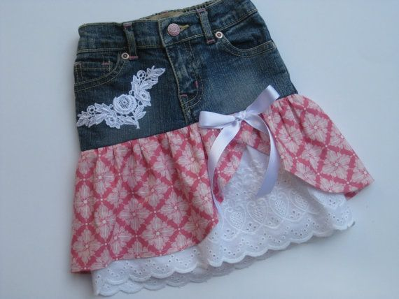 Baby Girl Up Cycled Denim Ruffled Appliqued Skirt size 12-18 months
