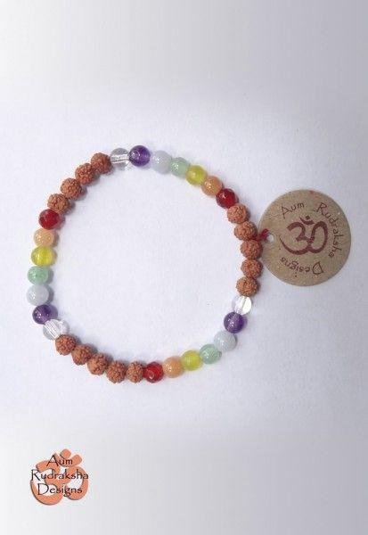 Bracelet Chakra W/ Assorted stones #aum #rudraksha #beads #bracelet #jewellery #chakra #bali