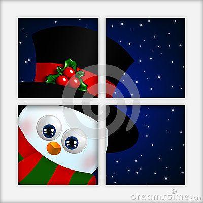 Christmas cartoon snowman looking by the window
