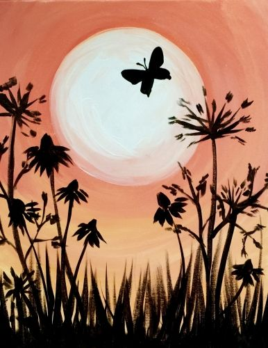 Paint Nite - Peach Sky And A Butterfly