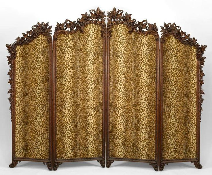 rustic black forest 19th cent walnut floral carved 4 fold screen with leopard upholstered