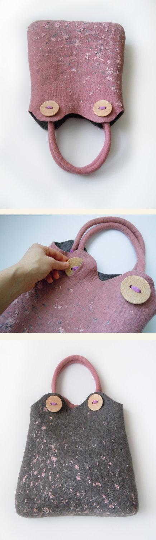 Felted twosided handbag 4 ways to wear by Simonascrafts on Etsy