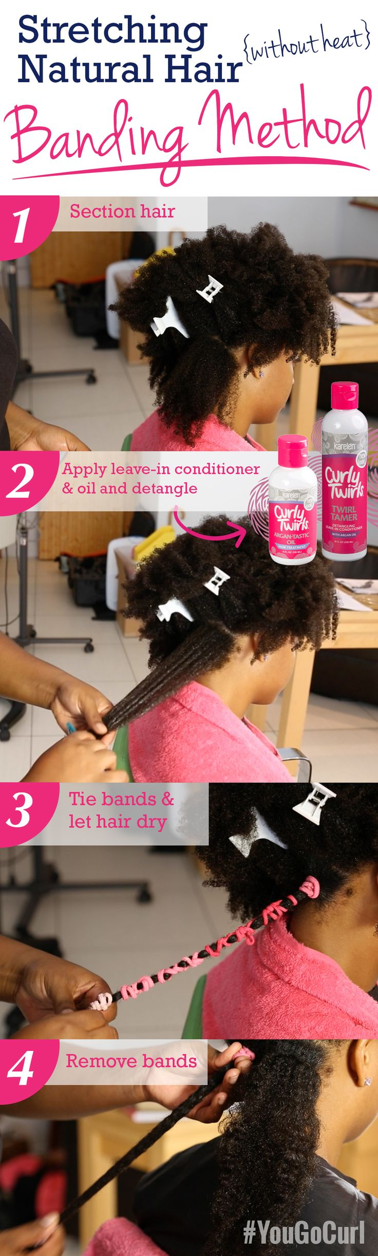 Stretching Natural Hair | Banding Method