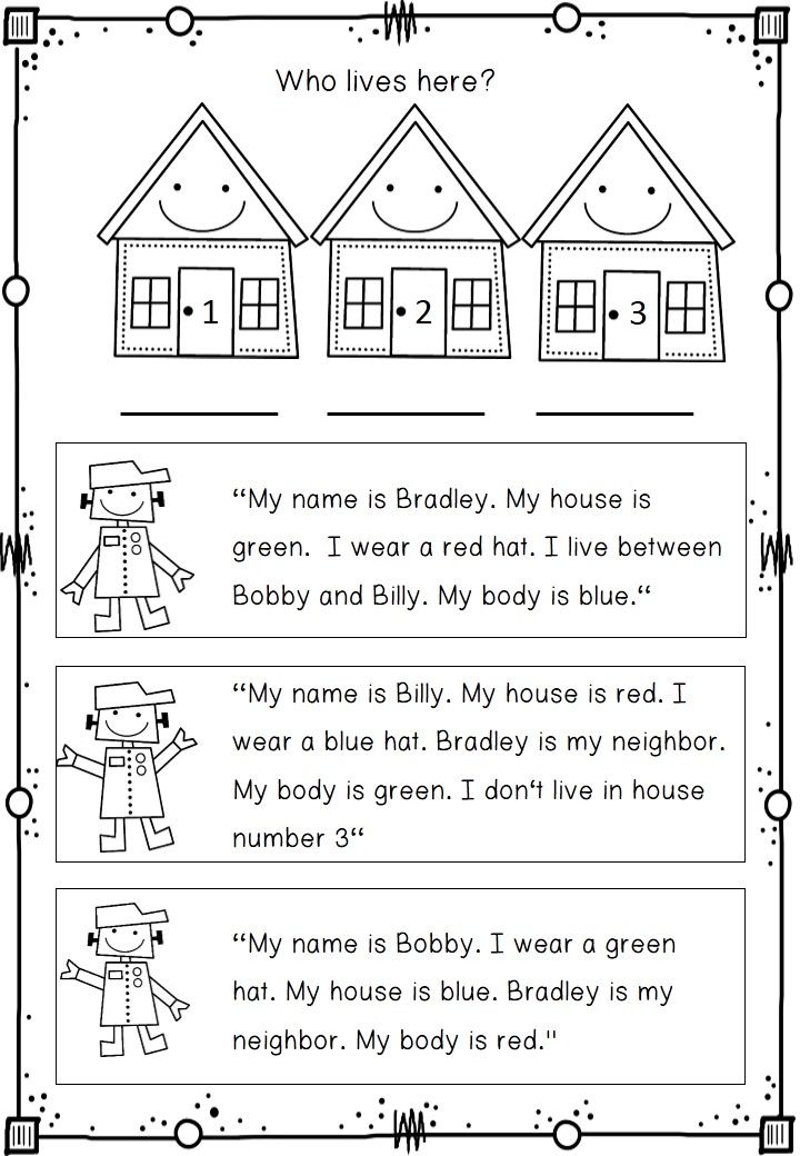 Wonderful logic puzzles. Children have to read, color and match the cute robot kids with their houses.