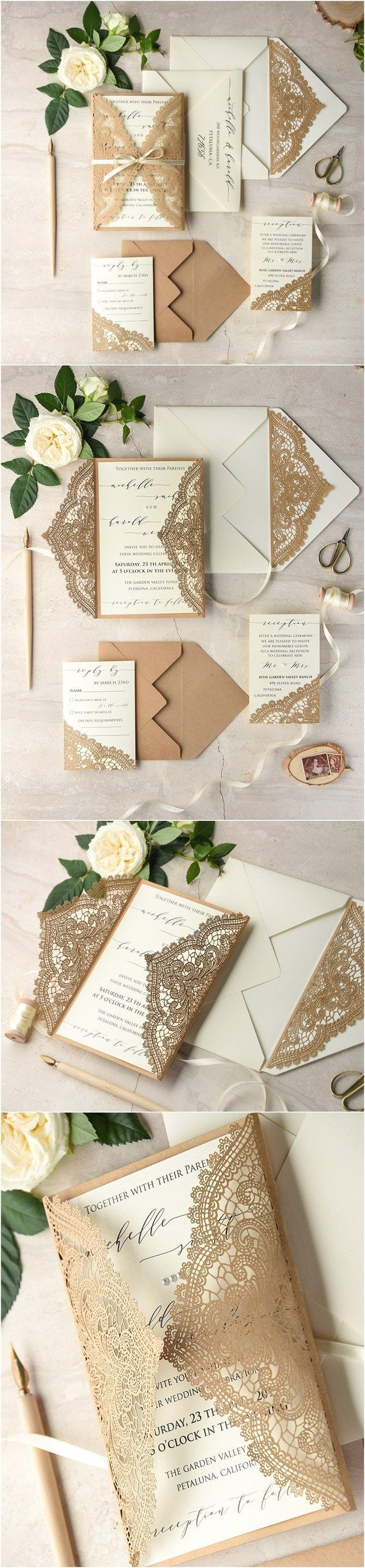 Ivory kraft paper laser cut lace rustic wedding invitations 01lCNz