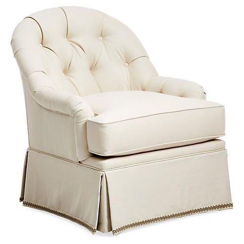 Marlowe Swivel Accent Chair, Cream Linen | Luxury chairs ...