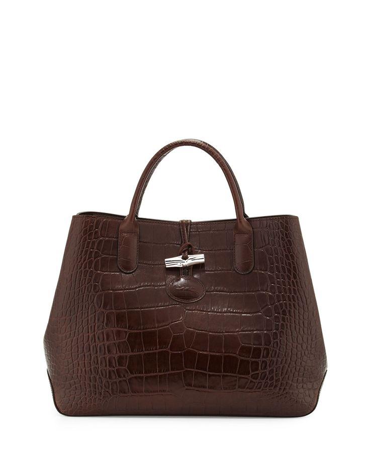 Longchamp Roseau Croco Small Tote Bag, Brown