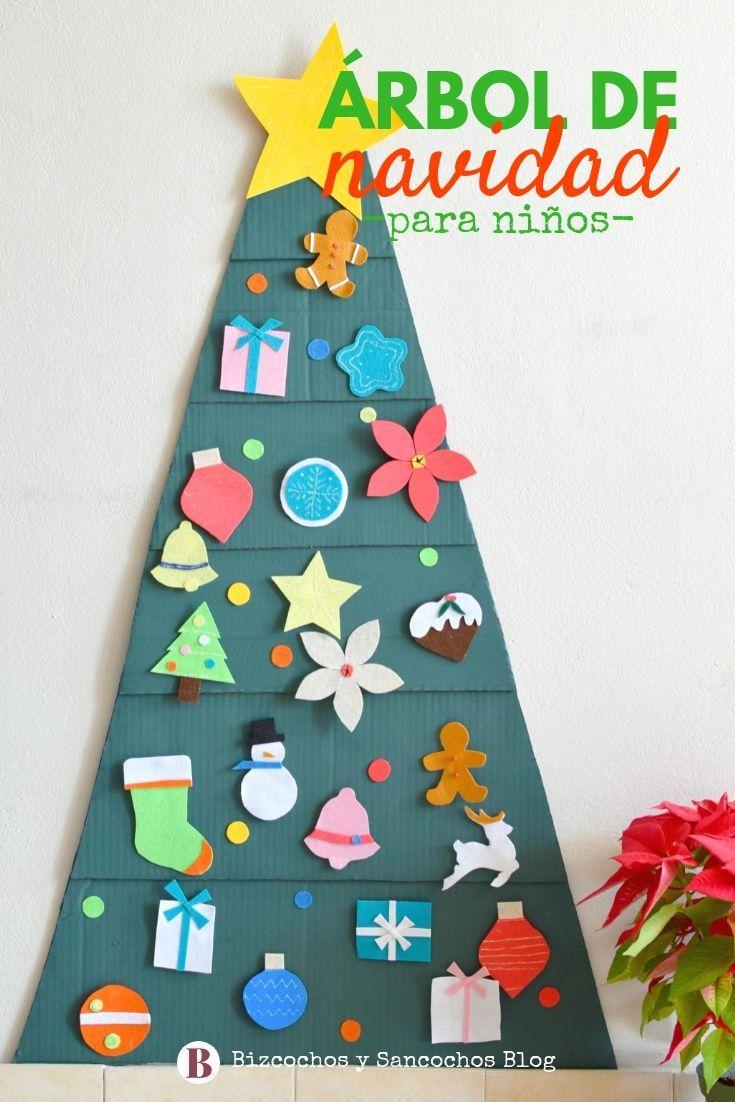 Arbol De Navidad Para Ninos Hecho Con Carton Y Fieltro Con Pocos