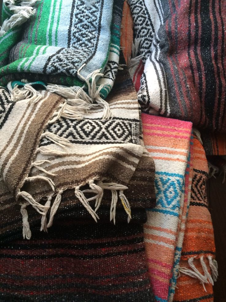 Mexican blankets. Love these things!  Already have like 6.  The colors are so amazing!
