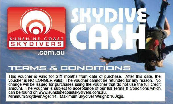 Skydive Cash, the alternative to our skydive gift vouchers - use this to part-pay for a skydive or add-on photos or skydive souvenirs