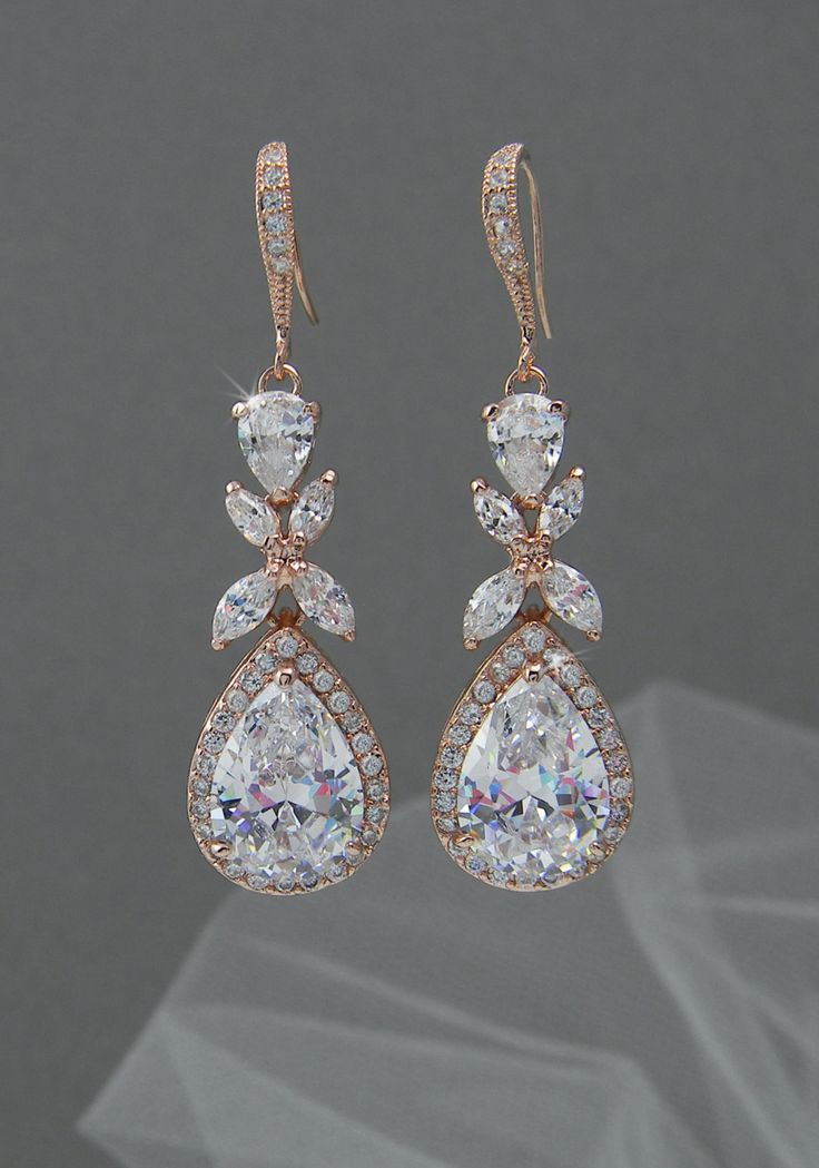 Rose Gold Bridal earrings Wedding jewelry Swarovski Crystal Wedding earrings Bridal jewelry, Amielynn Earrings by CrystalAvenues on Etsy