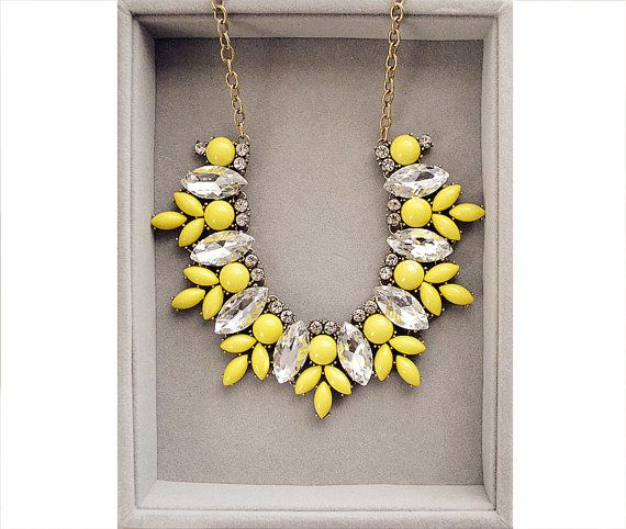 Luxury Lemon Yellow Necklace J Crew Inspired by Payless4fab, $32.99