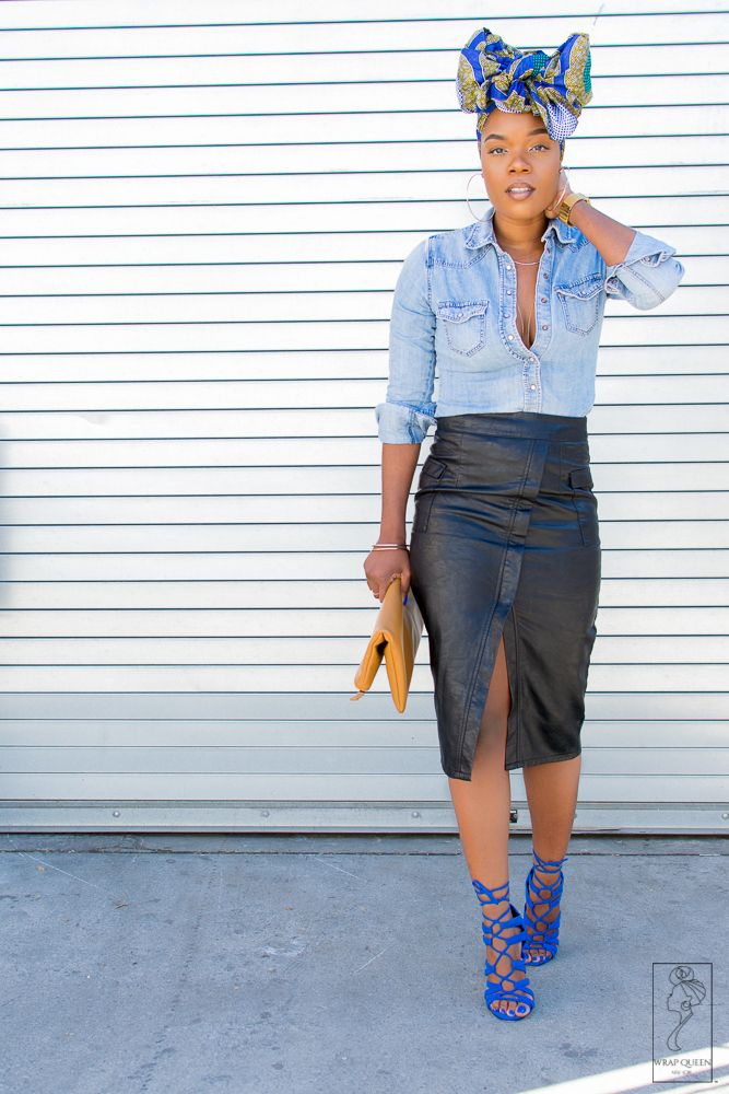 Outfit details on the blog now!! #headwrap #bow #pencilskirt #Denim #DenimShirt