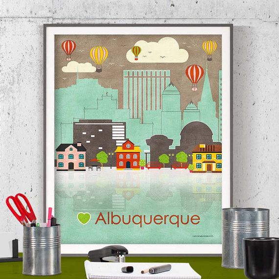 instant download wall art printable printable poster Albuquerque poster Albuquerque wall art Albuquerque print Albuquerque N Mexico New Mexico printable by GreenGreenDreams