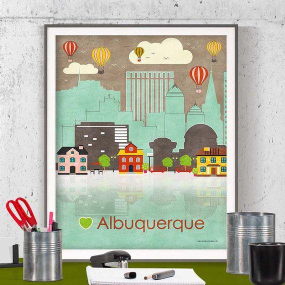 instant download wall art printable printable poster Albuquerque poster Albuquerque wall art Albuquerque print Albuquerque N Mexico New Mexico printable by GreenGreenDreams