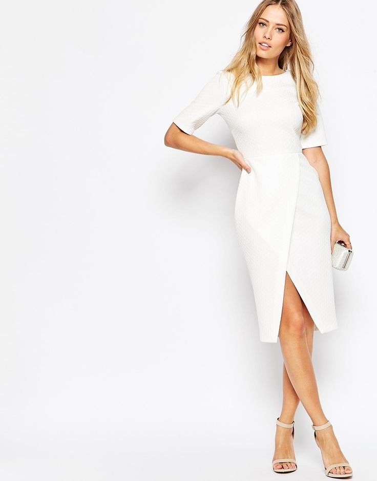 Image 4 ofASOS Wiggle Dress With Wrap Skirt In Diamond Texture