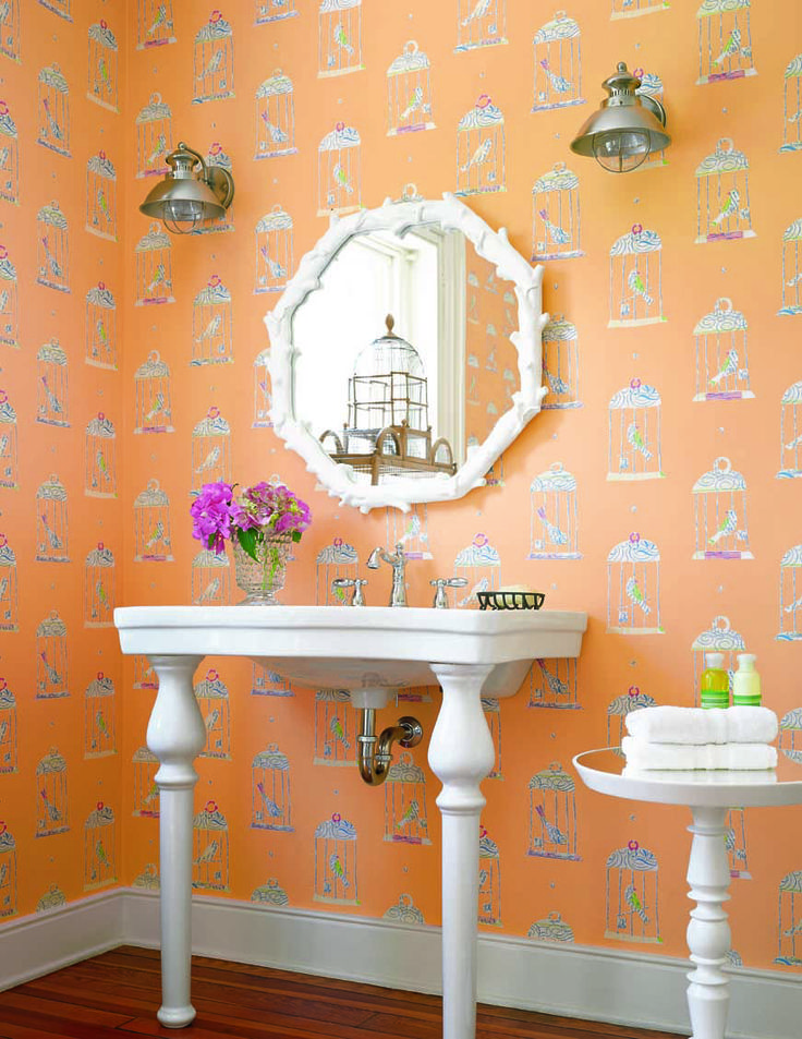 Art Exhibition Tweety wallpaper in tangerine from the Serendipity collection Thibaut