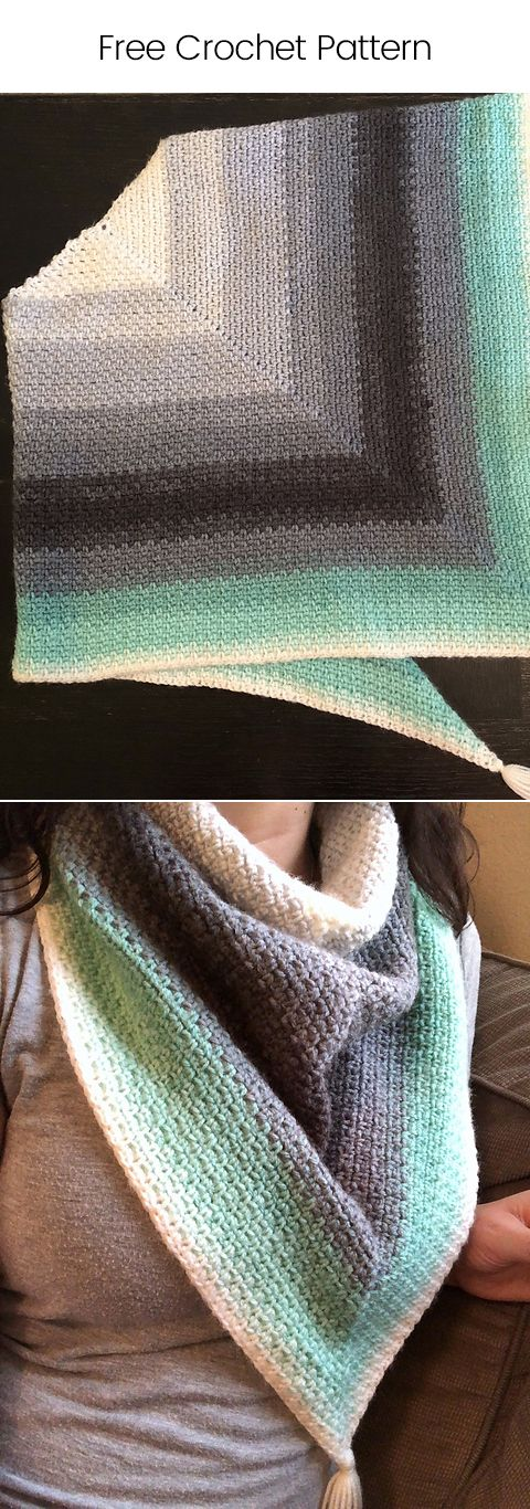 Madeline Triangle Scarf Free Crochet Pattern #crochet #yarn #crafts #homedecor #handmade