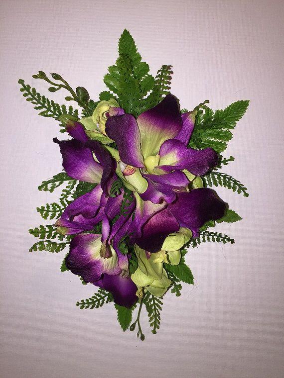 HANALEI ORCHIDS-Hawaiian hair clip.Silk Orchids,Purple Dendrobium,Tropical wedding,Beach brides,Hula flowers,Pinups,Tropical flowers clip.