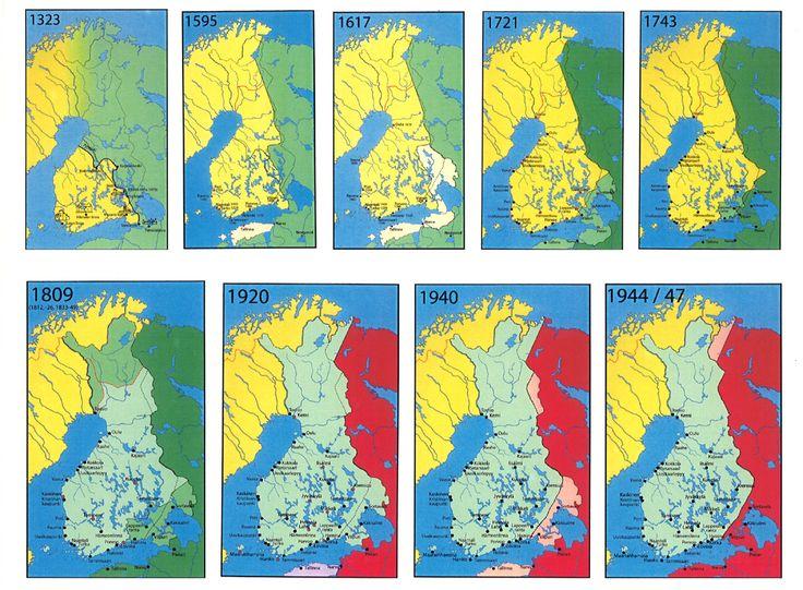 Suomen rajamuutokset 1 - 9. Finland's border changes.
