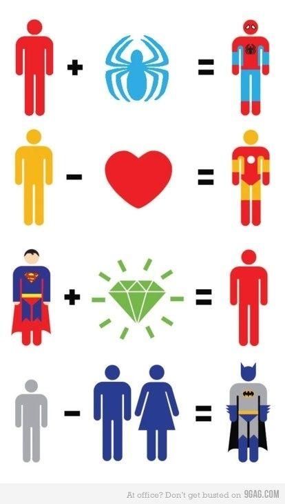 Easy Math: Superhero Math, Pop Culture, The Batman, Comic Books, Superheroes, Super Heroes, Irons Men, Ironman, So Funny