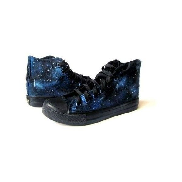 Handpainted Galaxy Sneakers, Custom Galaxy Converse, Personalized... ❤ liked on Polyvore featuring shoes, sneakers, galaxy print shoes, converse footwear, converse sneakers, converse trainers and galaxy shoes