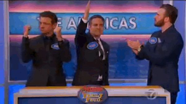"""The teams were the Americas — Jeremy Renner (Hawkeye), Mark Ruffalo (The Hulk), and Chris Evans (Captain America) — versus the Mans — Robert Downey Jr. (Iron Man), Chris Hemsworth (Thor), and Scarlett Johansson (Black Widow). 
