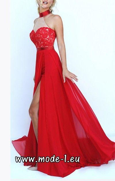 Neckholder Kleid Abendkleid in Rot