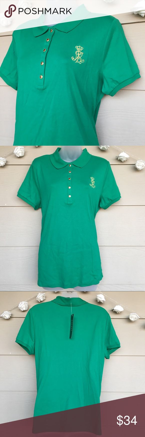 LAUREN RALPH LAUREN Green Gold Logo Polo Shirt LAUREN RALPH LAUREN LRL Women's Green With Gold Logo Polo Shirt   --Size = XL – Extra Large  --In Excellent Condition – New With Tags!  --Green polo with gold detail. Gold buttons with LRL engraved & gold emblem on front of shirt.  --100% Cotton  --Approx. Measurements laying flat:  •Armpit to armpit=21in  •Length=26in  •Sleeves=7.5in   Questions ?? -- Please ask!  All packages shipped fast with love & care!  [C] Lauren Ralph Lauren Tops