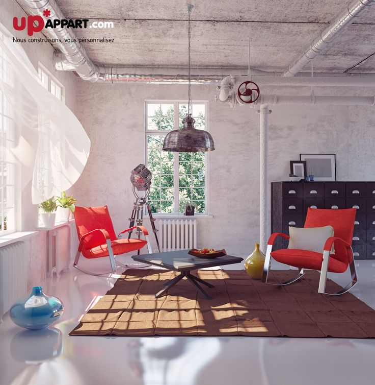Mélangez l'effet brut des murs en béton avec des meubles colorés, dans votre salon.