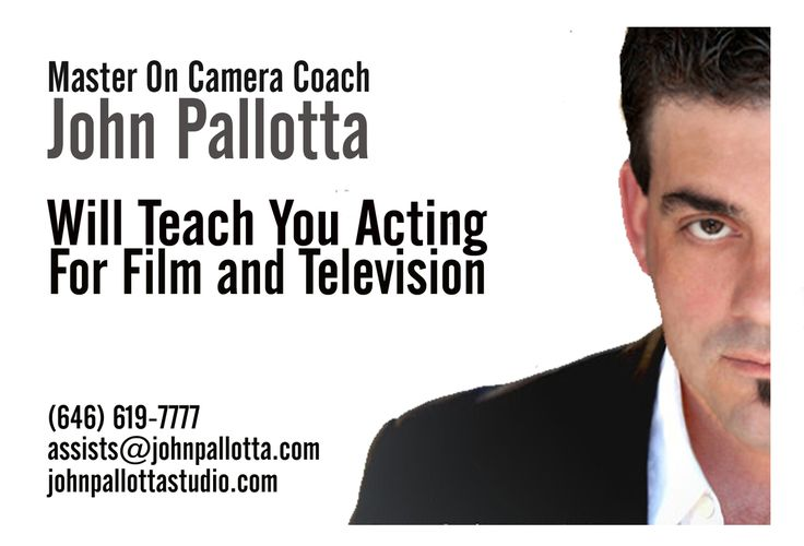 .THE BUSINESS AND THE CRAFT OF ACTING from Acting Coach John Pallotta   Free Sample Event in New York, Philadelphia, Baltimore.    https://www.eventbrite.com/o/master-acting-coach-john-pallotta-7911774439    In this one day (4 hour) work shop you will get the opportunity to see how John coaches his actors in the classroom and on set. John will also introduce you to the business of acting beyond headshots resumes and cover the stuff they really don't talk about when it comes to the business of ac
