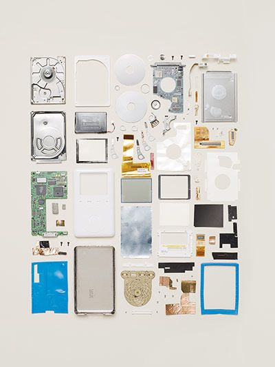 Disassembled iPod 2 from 2002. Number of parts: 80 - Todd McLellan