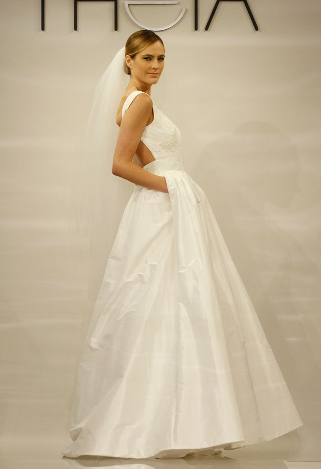 Who doesn't love a wedding dress with pockets?! From Theia's Spring 2014 collection