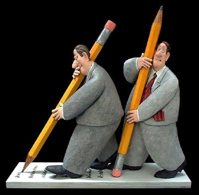 Stephen Hansen, Pencil Pushers, papier mache  Lesson: sculptural visual puns