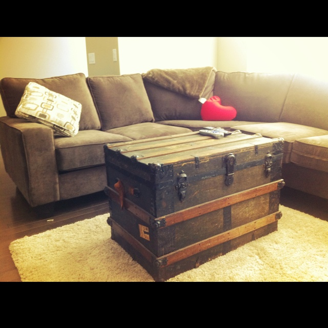 Old Trunk As A Coffee Table