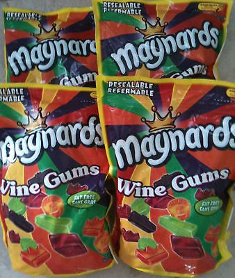 4 HUGE MAYNARDS WINE GUMS 1KG BAG (4KG TOTAL)FREE SHIP FACTORY FRESH NEW