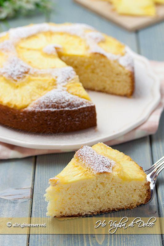 Torta ananas e cocco soffice  senza burro e olio, ricetta blog Ho Voglia di Dolce