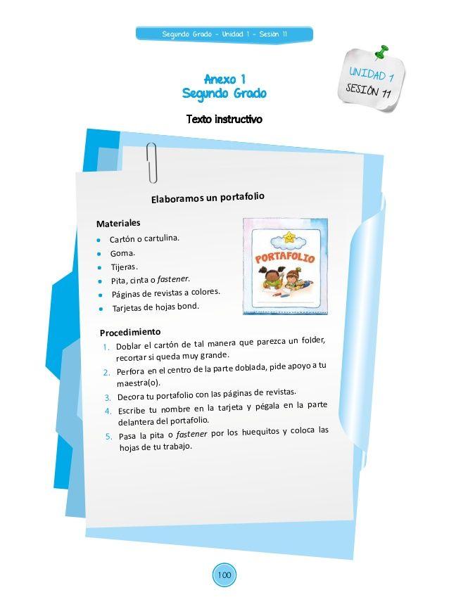 Anexo 1  Segundo Grado  UNIDAD 1  SESIÓN 11  Texto instructivo  Elaboramos un portafolio  Materiales   Cartón o cartulina.   Gom...