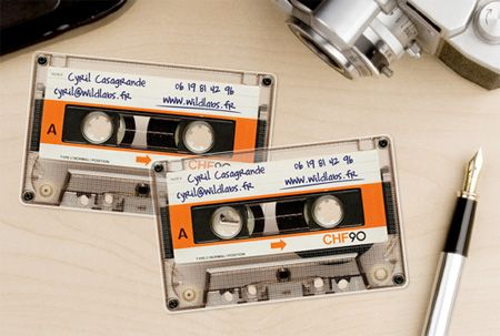 Business card made of clear plastic, made to look like a retro cassette tape! Awesome!