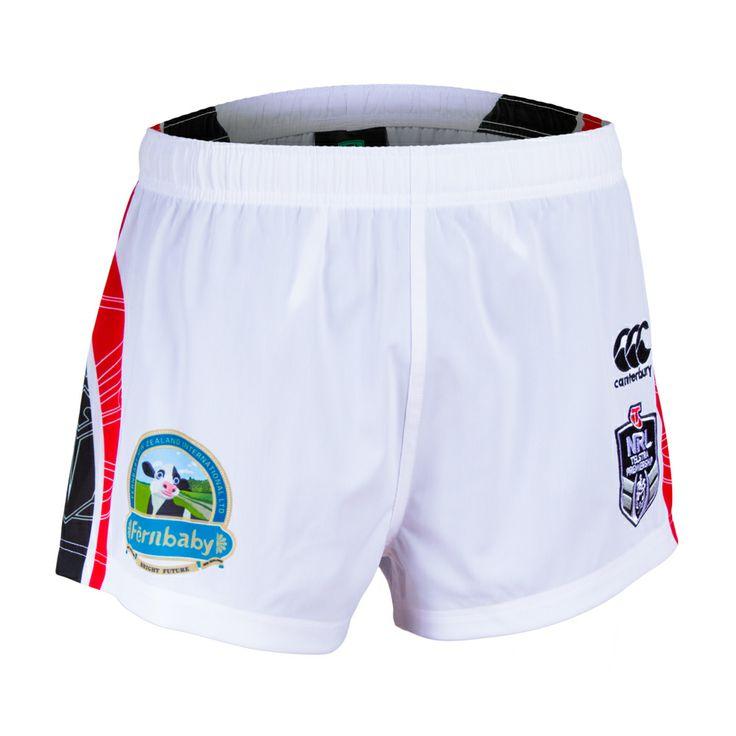 2014 Vodafone Warriors CCC Away Shorts #WarriorsGear #WarriorsForever #NRL #White #Shorts Go to www.warriorsstore.co.nz